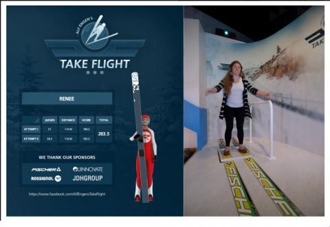 "Museum guest experiences ""Alf Engen's Take Flight"" exhibit at Alf Engen Ski Museum"